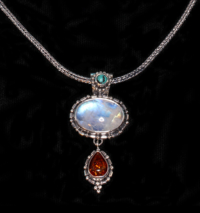Silver Rainbow Moonstone, Amber & Turquoise Necklace