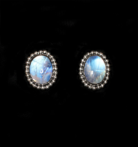 Silver Rainbow Moonstone Stud Earrings