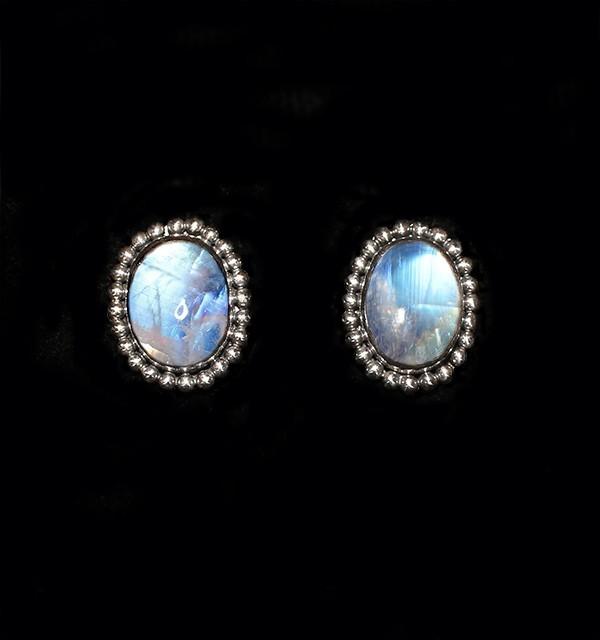 Silver Rainbow Moonstone Stud Earrings