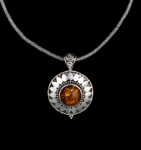 Sterling Silver Baltic Amber Sun Necklace