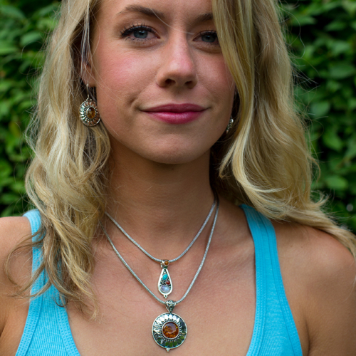 Sterling Silver Amber Sun Necklace handcrafted with Baltic Amber