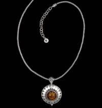 Handcrafted Sterling Silver Amber Sun Necklace