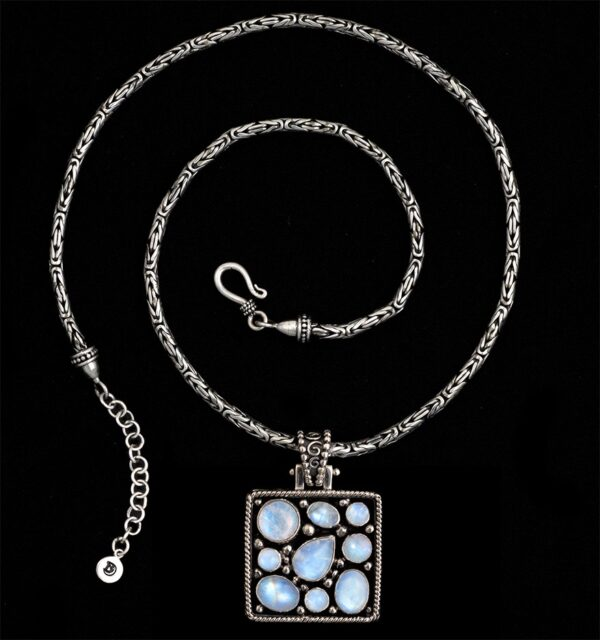 Multi Moonstone Necklace with Rainbow Moonstones handcrafted in Sterling Silver