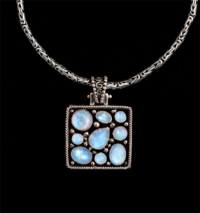Square Multi Rainbow Moonstone Necklace