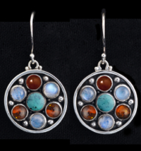 Multi Gemstone Earrings in Sterling Silver with Moonstones, Turquoise, Amber & Carnelian