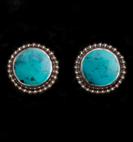 Handcrafted Turquoise Sterling Silver Studs with Tibetan Turquoise