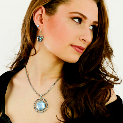 Silver Rainbow Moonstone Balinese Necklace
