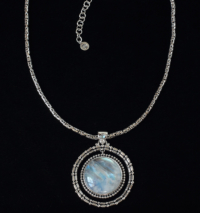 Sterling Silver Moonstone Balinese Necklace with Byzantine chain