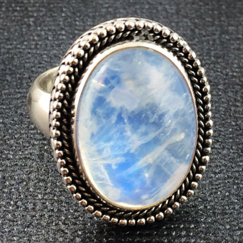Handcrafted Sterling Silver Rainbow Moonstone Ring