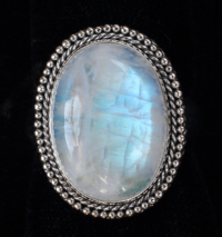Sterling Silver Rainbow Moonstone Ring handcrafted in Bali