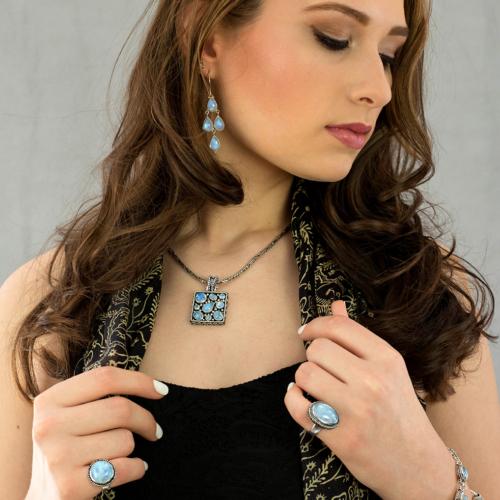 Rainbow Moonstone Chandelier Earrings in Sterling Silver