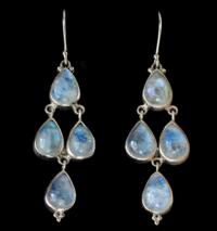 Handcrafted Silver Rainbow Moonstone Chandelier Earrings in Sterling Silver