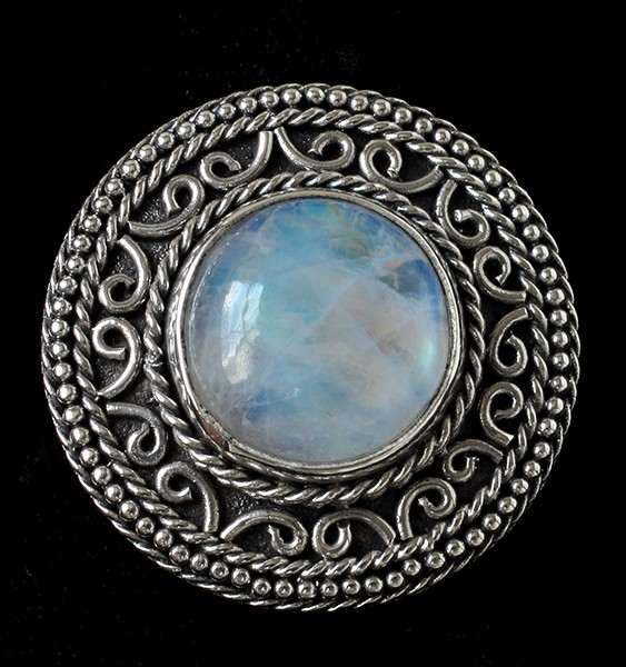 Handcrafted Rainbow Moonstone Sterling Silver Ring