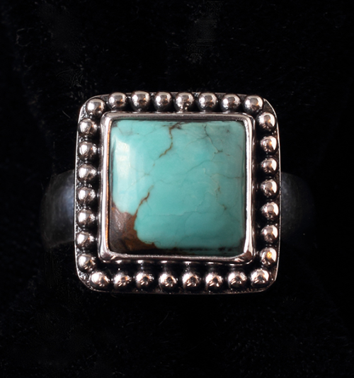 Handcrafted Sterling Silver Turquoise Ring with Tibetan Turquoise