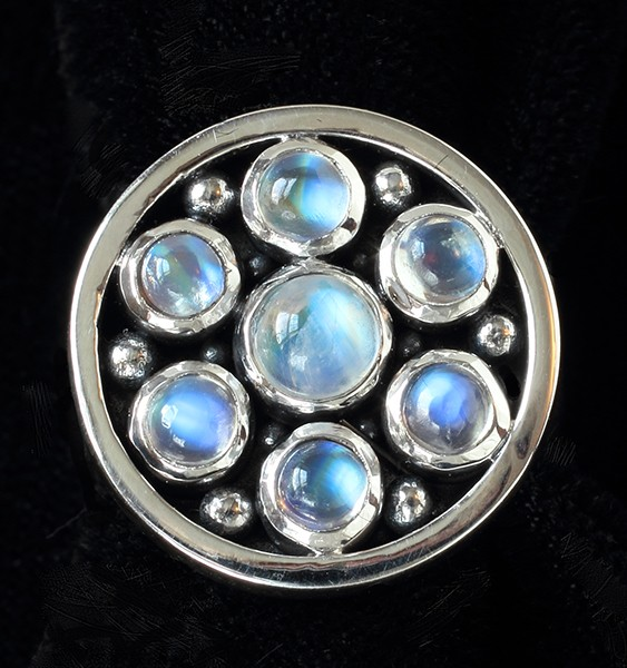 Handcrafted Sterling Silver Moonstone Ring with Rainbow Moonstones