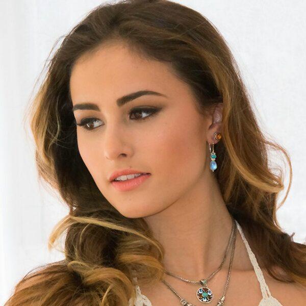 Sterling Silver Moonstone Turquoise Earrings