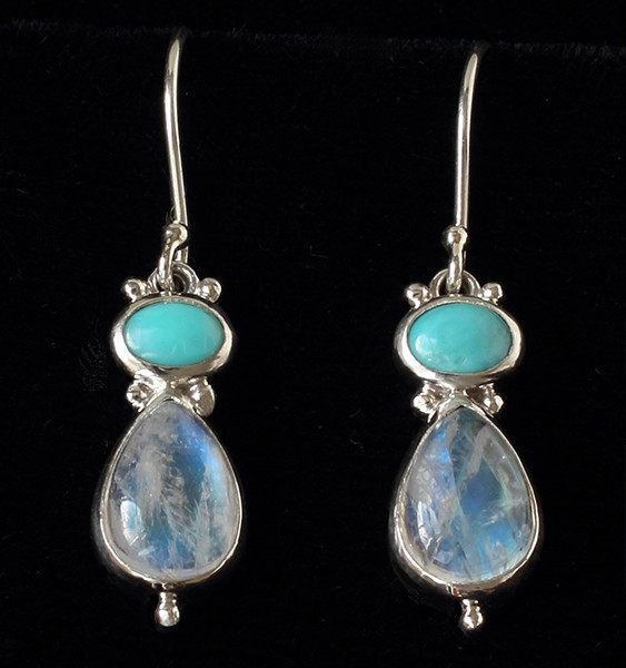Handcrafted Silver Moonstone Turquoise Earrings in Sterling Silver