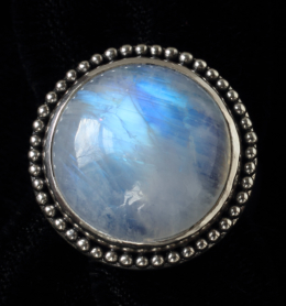 Rainbow Moonstone Silver Ring handcrafted in Sterling Silver