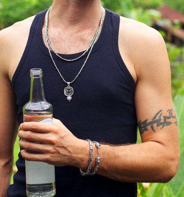 Men's Sterling Silver Byzantine Bracelet handcrafted in Bali