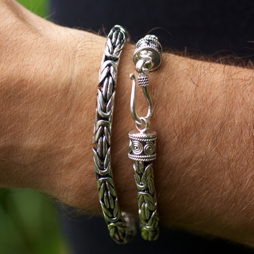 Men's Sterling Silver Byzantine Bracelet handcrafted in Bali