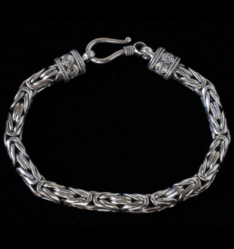 Mens Sterling Silver Byzantine Bracelet handcrafted in Bali