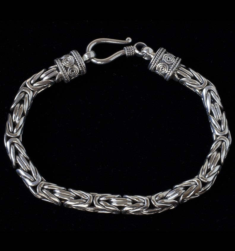 Mens Sterling Silver Byzantine Bracelet