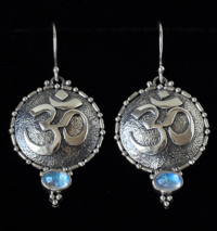 Handcrafted Moonstone Sterling Silver OM Earrings with Rainbow Moonstones
