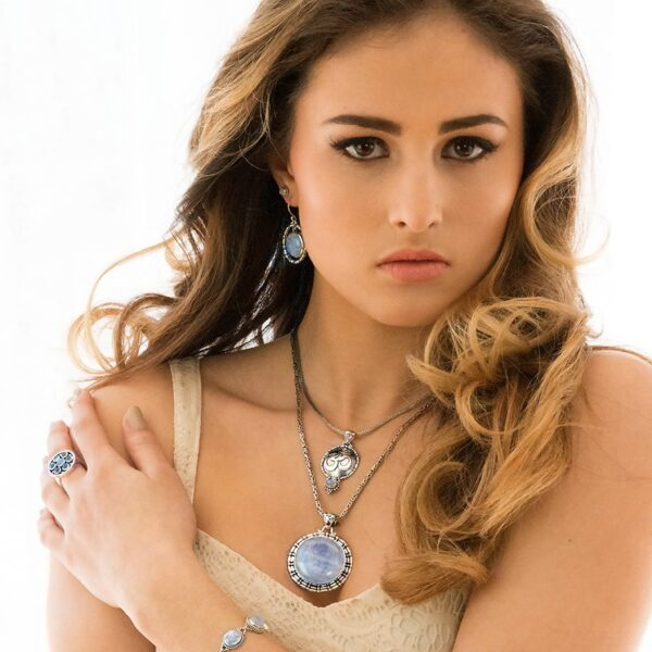 Handcrafted Sterling Silver Moonstone OM Necklace