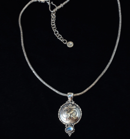 Handcrafted Sterling Silver Moonstone Om Necklace with Rainbow Moonstone