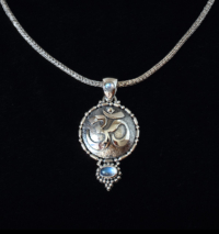 Silver Rainbow Moonstone OM Necklace