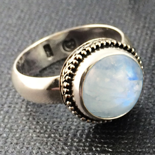 Rainbow Moonstone Ring handcrafted in Sterling Silver