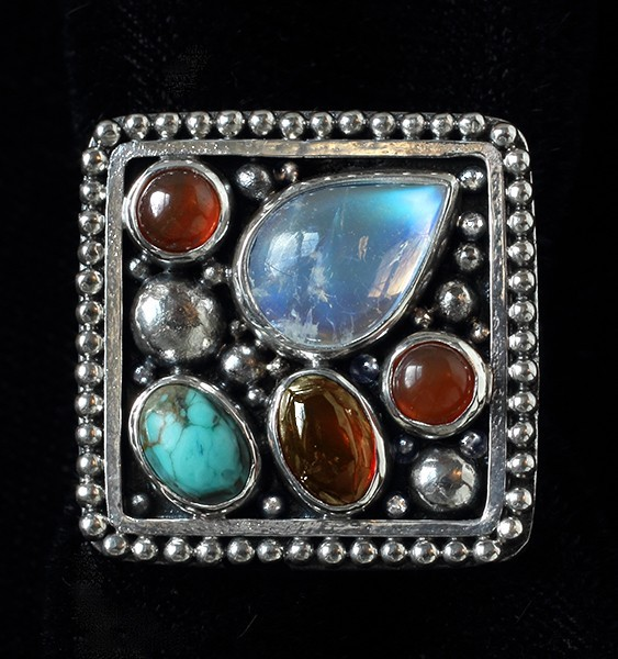 Handcrafted Sterling Silver Multi Gemstone Ring with Moonstone, Turquoise, Amber & Carnelian