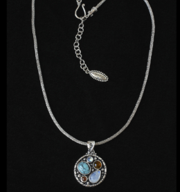 Handcrafted Sterling Silver Gemstone Necklace with Rainbow Moonstone, Turquoise, Amber & Carnelian