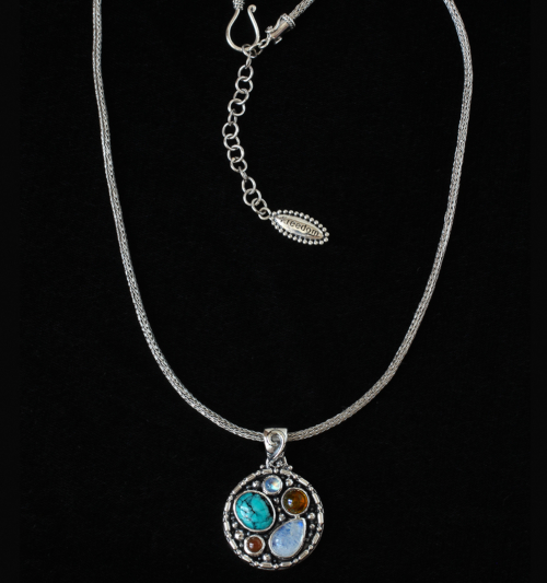Sterling Silver Gemstone Necklace with Rainbow Moonstone