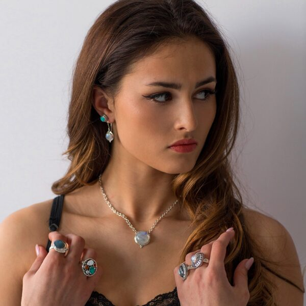 Silver Round Rainbow Moonstone Earrings