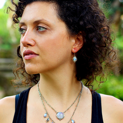 Rainbow Moonstone Necklace handcrafted in Sterling Silver