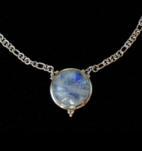 Round Rainbow Moonstone Necklace