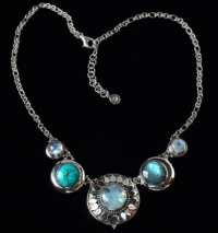 Handcrafted Moonstone Sun Moon Necklace in Sterling Silver with Labradorite & Turquoise
