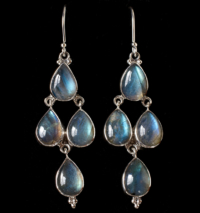 Handcrafted Silver Labradorite Earrings in Sterling Silver