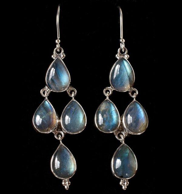 Handcrafted Silver Labradorite Earrings in Sterling Silver