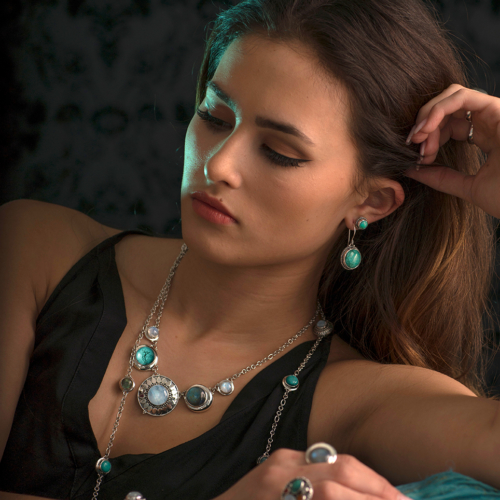 Sterling Silver Tibetan Turquoise Earrings