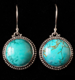 Handcrafted Silver Turquoise Earrings with Tibetan Turquoise