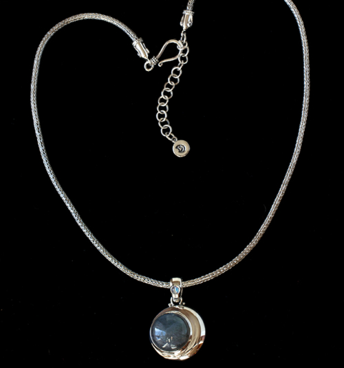 Labradorite Moon Necklace handcrafted in Sterling Silver