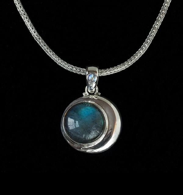 Silver Labradorite Crescent Moon Necklace