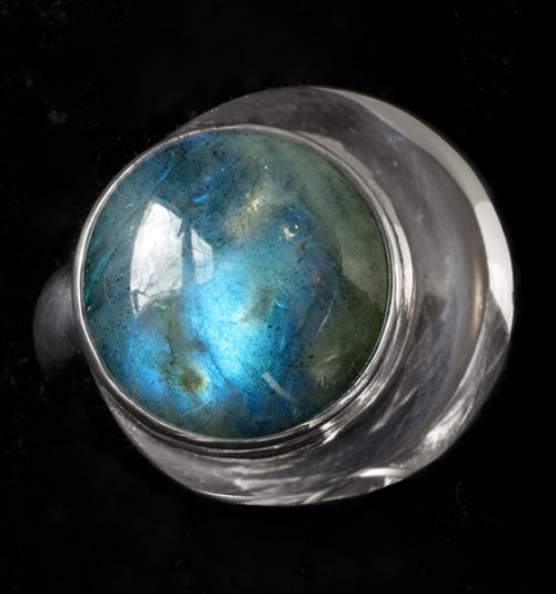 Handcrafted Labradorite Moon Ring in Sterling Silver