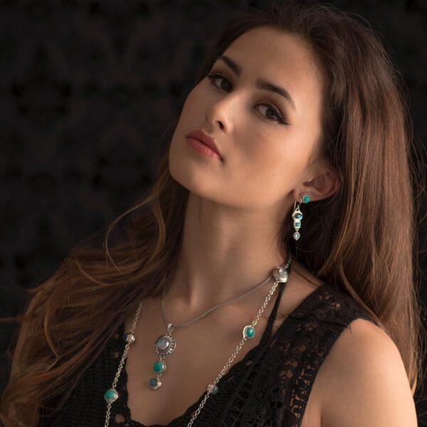 Labradorite Gemstone Earrings with Rainbow Moonstones