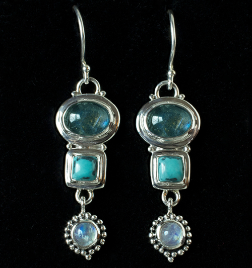 Handcrafted Labradorite Gemstone Earrings in Sterling Silver with Moonstones & Turquoise