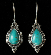 Handcrafted Sterling Silver Turquoise Earrings with Tibetan Turquoise
