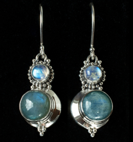 Handcrafted Labradorite Moon Earrings in Sterling Silver with Rainbow Moonstones