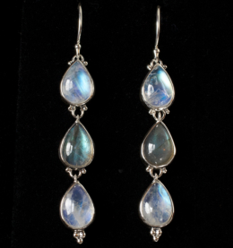 Handcrafted Silver Moonstone Dangle Earrings with Labradorite